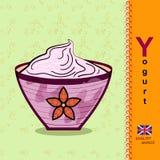 Letra inglesa Y yogur Foto de archivo