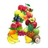 Letra A integrada por diversas frutas con las hojas stock de ilustración