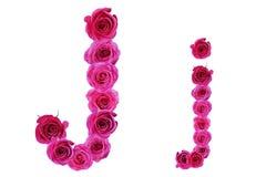 Letra j de rosas Imagen de archivo libre de regalías
