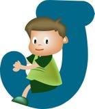 Letra J (muchacho) del alfabeto Imagenes de archivo