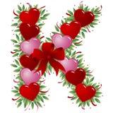 Letra K - Carta de la tarjeta del día de San Valentín stock de ilustración
