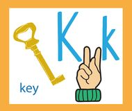 letra k dos desenhos animados alfabeto inglês creativo Conceito de ABC Linguagem gestual e alfabeto Imagens de Stock