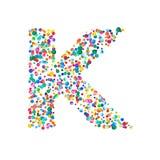 Letra k llenada de confeti denso de la acuarela encendido stock de ilustración