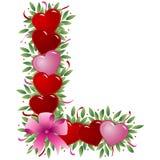 Letra L - Carta de la tarjeta del día de San Valentín ilustración del vector