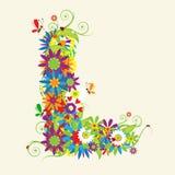 Letra L, diseño floral