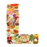 Letra L feita do alimento imagem de stock royalty free