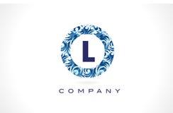 Letra L teste padrão azul Logo Design ilustração do vetor