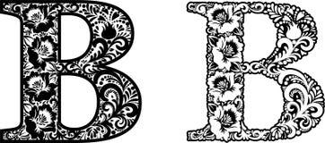 Letra laçado B Ornamento da flor ilustração stock