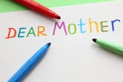 Letra a la estimada madre Foto de archivo libre de regalías