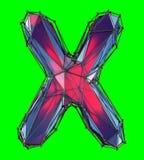 Letra latin principal X na cor vermelha do baixo estilo poli isolada no fundo verde Fotos de Stock Royalty Free