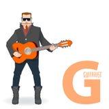 Letra lisa G da profissão - guitarrista ilustração do vetor