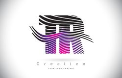 Letra Logo Design With Creative Lines da textura da zebra do TR T R e Fotografia de Stock Royalty Free