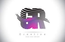Letra Logo Design With Creative Lines da textura da zebra da GR G R e Fotos de Stock Royalty Free