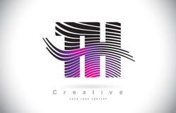 Letra Logo Design With Creative Lines de la textura de la cebra del TH T H y stock de ilustración