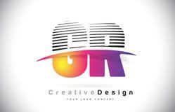 Letra Logo Design With Creative Lines y Swosh de GR G R en Purpl Fotografía de archivo