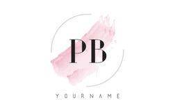 Letra Logo Design da aquarela do PB P B com teste padrão circular da escova Fotografia de Stock Royalty Free