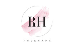 Letra Logo Design da aquarela do RH R H com teste padrão circular da escova Imagens de Stock