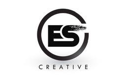Letra Logo Design da escova do ES Logotipo escovado criativo do ícone das letras Imagem de Stock Royalty Free