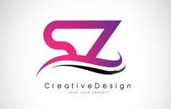 Letra Logo Design da SZ S Z Vetor moderno L das letras do ícone criativo Imagem de Stock