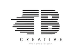 Letra Logo Design da zebra da TB T B com listras preto e branco Foto de Stock Royalty Free