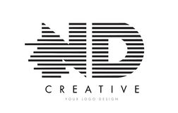 Letra Logo Design da zebra do ND N D com listras preto e branco Fotos de Stock
