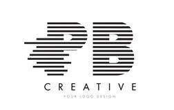 Letra Logo Design da zebra do PB P B com listras preto e branco Fotos de Stock Royalty Free