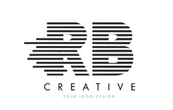 Letra Logo Design da zebra do RB R B com listras preto e branco Imagens de Stock