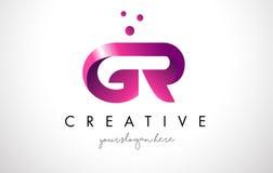 Letra Logo Design de GR con colores púrpuras y puntos Foto de archivo libre de regalías