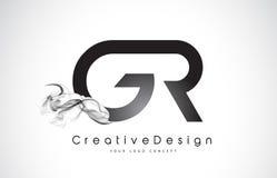 Letra Logo Design de GR con humo negro Fotos de archivo libres de regalías