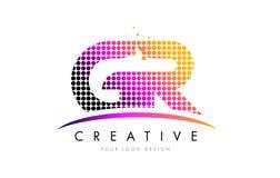 Letra Logo Design de GR G R con los puntos magentas y Swoosh Imagen de archivo libre de regalías