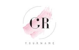 Letra Logo Design de la acuarela de GR G R con el modelo circular del cepillo Imagenes de archivo
