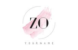 Letra Logo Design de la acuarela de ZO Z O con el modelo circular del cepillo Fotos de archivo libres de regalías