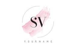 Letra Logo Design de la acuarela del SV S V con el modelo circular del cepillo Fotos de archivo libres de regalías