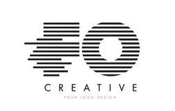 Letra Logo Design de la cebra de las FO F O con las rayas blancos y negros Fotografía de archivo libre de regalías