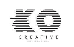 Letra Logo Design de la cebra del knock-out K O con las rayas blancos y negros ilustración del vector