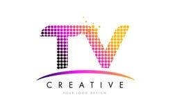 Letra Logo Design de la TV T V con los puntos magentas y Swoosh stock de ilustración
