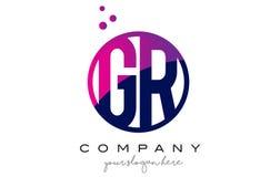 Letra Logo Design del círculo de GR G R con Dots Bubbles púrpura Fotografía de archivo