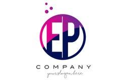 Letra Logo Design del círculo del EP E P con Dots Bubbles púrpura Fotografía de archivo libre de regalías