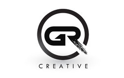 Letra Logo Design del cepillo de GR Logotipo cepillado creativo del icono de las letras Imagenes de archivo