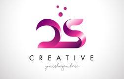 Letra Logo Design del DS con colores púrpuras y puntos Imagenes de archivo