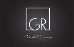 Letra Logo Design del marco del cuadrado de GR con colores blancos y negros Fotografía de archivo libre de regalías
