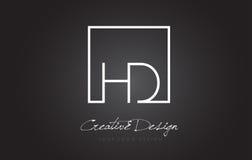 Letra Logo Design del marco del cuadrado de HD con colores blancos y negros Imagenes de archivo