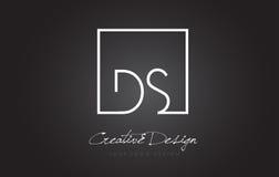 Letra Logo Design del marco del cuadrado del DS con colores blancos y negros Imagen de archivo