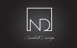 Letra Logo Design del marco del cuadrado del ND con colores blancos y negros Fotografía de archivo libre de regalías