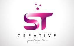 Letra Logo Design del ST con colores púrpuras y puntos Imágenes de archivo libres de regalías