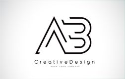 Letra Logo Design do AB em cores pretas Foto de Stock Royalty Free