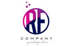 Letra Logo Design do círculo do RF R F com Dots Bubbles roxo Imagens de Stock Royalty Free