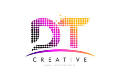 Letra Logo Design do descolamento D T com pontos magentas e Swoosh Fotografia de Stock Royalty Free