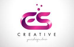 Letra Logo Design do ES com cores roxas e pontos Imagem de Stock Royalty Free