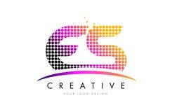 Letra Logo Design do ES E S com pontos magentas e Swoosh Imagens de Stock Royalty Free
